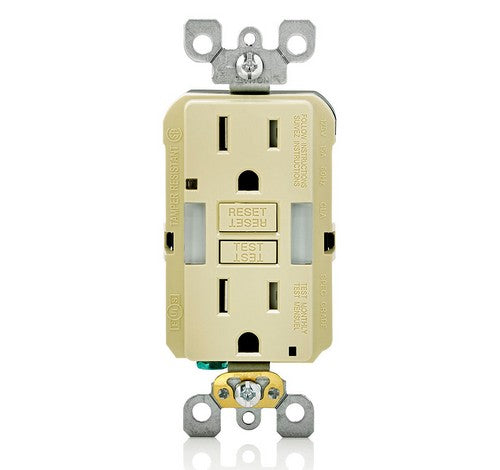 LEVITON GFNL1 Self-Test  Tamper Duplex Receptacle with  Guide Light 15A / 125 VAC IV - BuyRite Electric