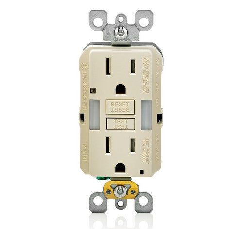 LEVITON GFNL1 Self-Test  Tamper Duplex Receptacle with  Guide Light 15A / 125 VAC LA - BuyRite Electric