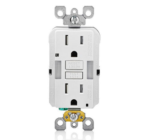 LEVITON GFNL1 Self-Test  Tamper Duplex Receptacle with  Guide Light 15A / 125 VAC WH - BuyRite Electric