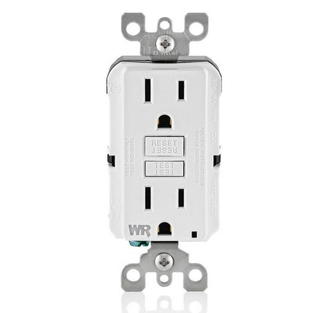 LEVITON GFWR1 Self-Test SmartlockPro Slim Weather-Resistant Receptacle with LED Indicator 15A / 125 VAC WH - BuyRite Electric