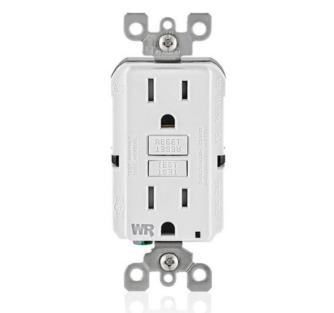 LEVITON GFWT1 Self-Test SmartlockPro Slim Weather-Resistant and Tamper-Resistant Receptacle with LED Indicator 15A / 125 VAC WH - BuyRite Electric