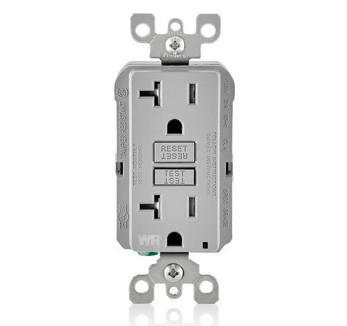 LEVITON GFWT2 Self-Test SmartlockPro Slim Weather-Resistant and Tamper-Resistant Receptacle with LED Indicator 20A / 125 VAC GR - BuyRite Electric
