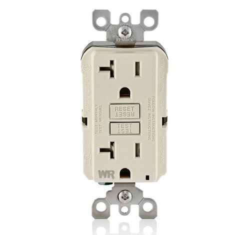 LEVITON GFWT2 Self-Test SmartlockPro Slim Weather-Resistant and Tamper-Resistant Receptacle with LED Indicator 20A / 125 VAC LA - BuyRite Electric