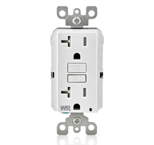 LEVITON GFWT2 Self-Test SmartlockPro Slim Weather-Resistant and Tamper-Resistant Receptacle with LED Indicator 20A / 125 VAC WH - BuyRite Electric