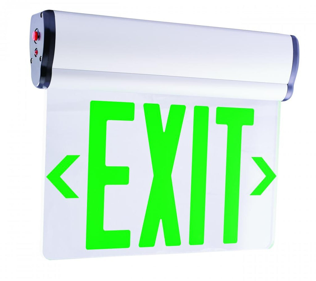 ELCO Lighting EDGLIT1G LED Edge Lit Exit Sign Green Letters, Single Face | BuyRite Electric