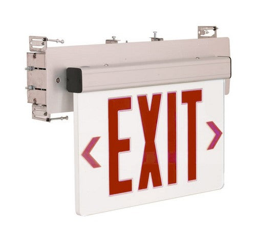 Nora Lighting NX-511-LED Red LED Wall Mount Recessed Edge-Lit Exit Sign Emergency Light Clear Circuit Aluminum - BuyRite Electric