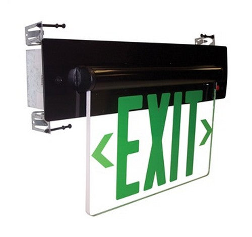 Nora Lighting NX-814-LED Recessed Adjustable Green LED Edge-Lit Exit Sign 2-Circuit - BuyRite Electric