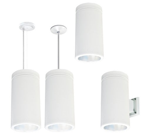 Nora Lighting NYLS-6C1127HWW1-AC 12W 6 Inch Sapphire I Cylinder Wall mount Comfort Dim Reflector with Aircraft Cable 850lm 2700K Haze / White Flange / White Cylinder Finish