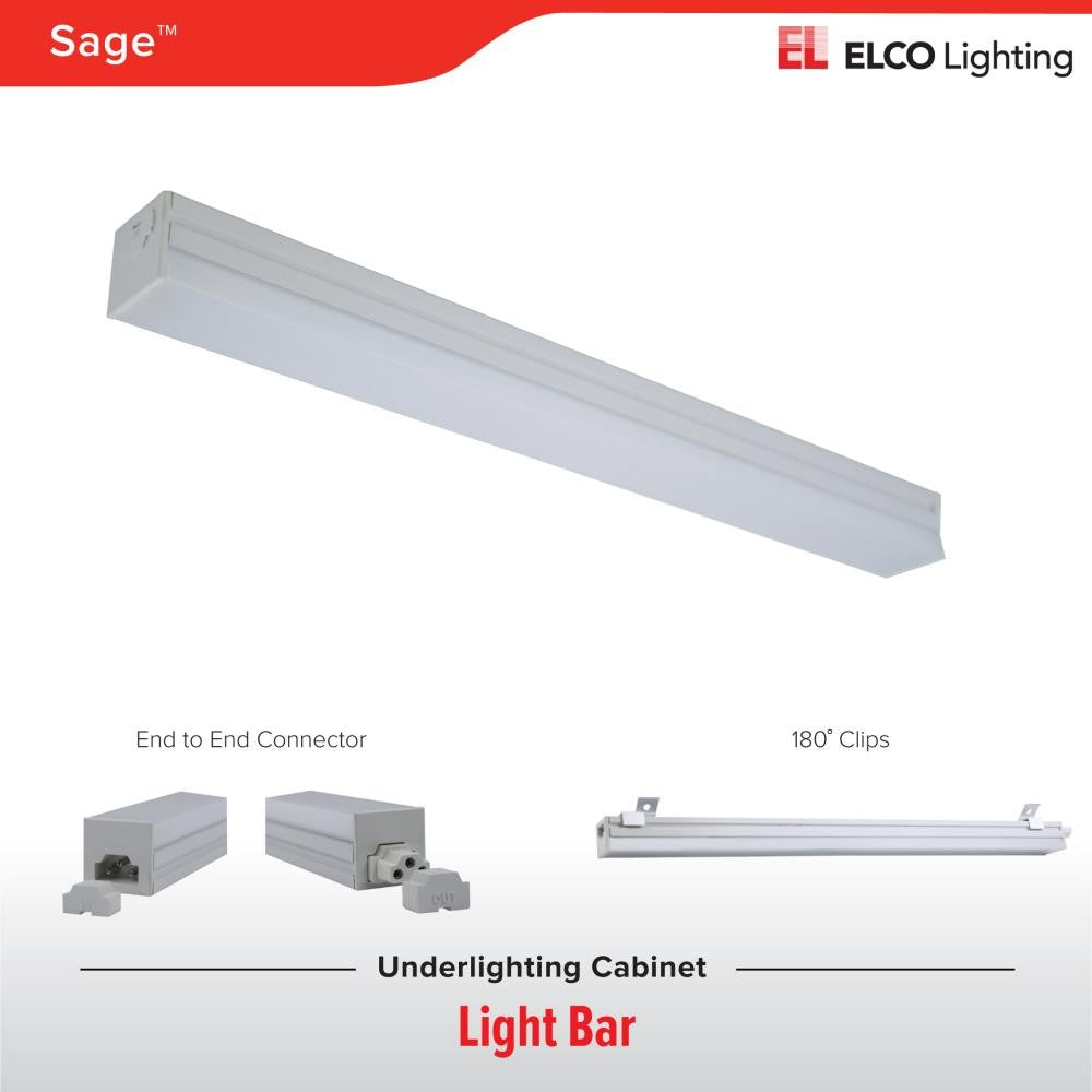 ELCO Lighting EUD3230W SAGE LED Undercabinet Lightbar 12 Inch 5W 3000K 300 lm White Finish