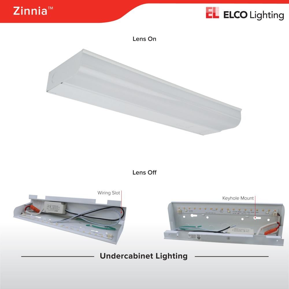 ELCO Lighting EUM43W Zinnia LED Undercabinet Lights 24 1/4 Inch 10W 3000K 900 lm 120V White Finish