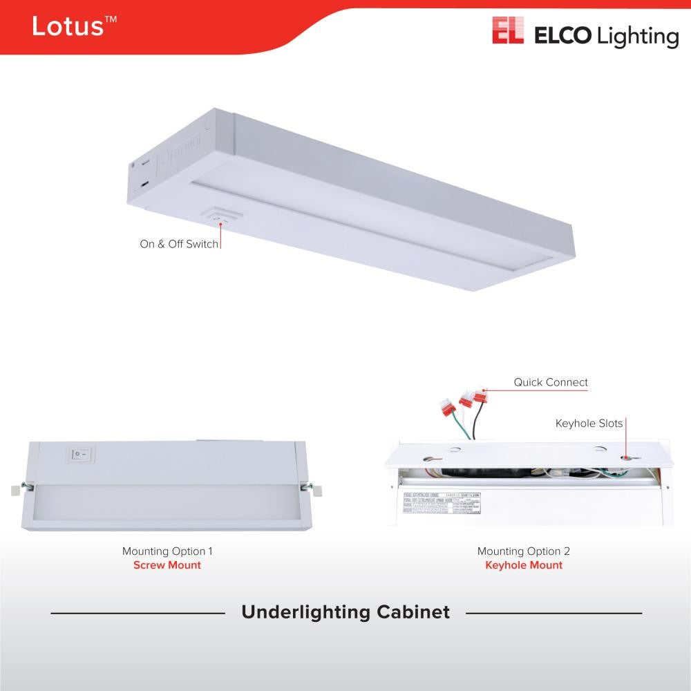 ELCO Lighting EUB22L40W Lotus LED Undercabinet Light 22 Inch Length 8W 4000K 609 lm 120V White Finish
