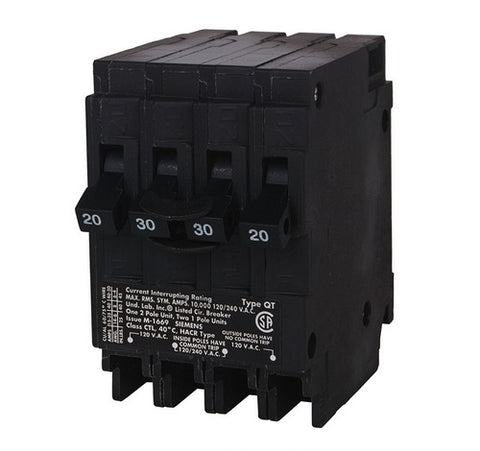 Siemens Q22030CT One 30-Amp Two Pole and Two 20-Amp Single Pole Standard Breaker - BuyRite Electric