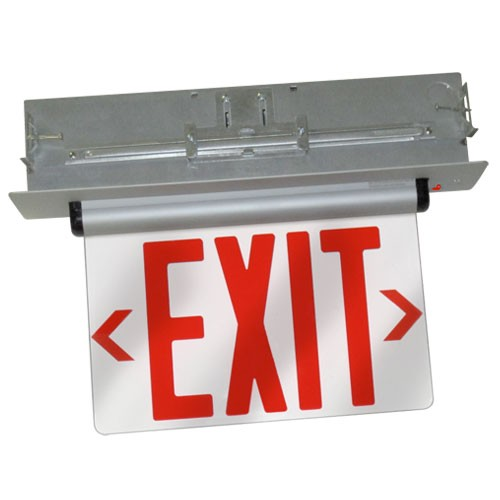 ELCO Lighting EDGREC2R Recessed LED Edge Lit Exit Sign Red Letters, Double Face | BuyRite Electric