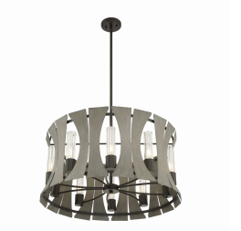 Eurofase Lighting 38164-019 LED Pennino 29 inch Chandelier Ceiling Light Matte Black with Grey Wood Finish