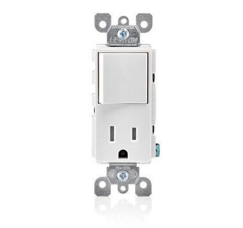 Leviton T5625 Decora Combination Switch and Tamper-Resistant Receptacle 15A / 125 VAC WH - BuyRite Electric