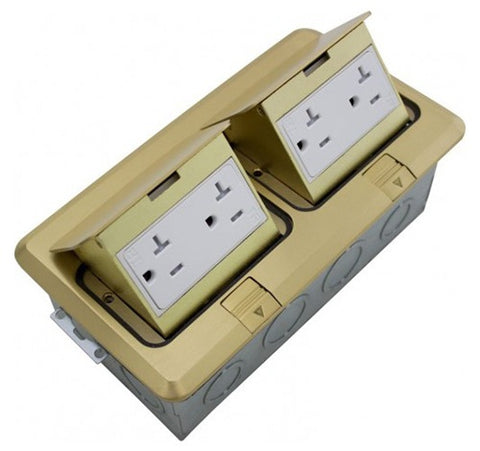Orbit Brass Floor Box Pop-up With 2 Duplex Receptacles 125V AC - BuyRite Electric