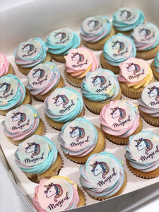 24 Mini Unicorn (Image) cupcakes