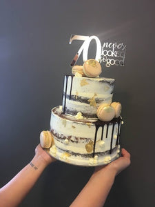 2 Tier Gold Leaf Naked Cake