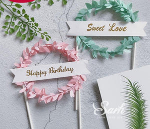 "2Pcs Pink Green Leaf Wreath ""Happy Birthday"" ""Sweet Love"" Cake Topper"