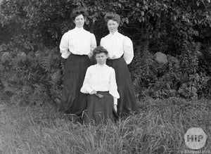 Two Young Women Posing with Toddler Girl Around Three Years Old in front of Woods, Early 1900s