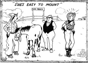 """She's Easy to Mount"" Comical Postcard Illustration, 1930s"