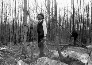 Woodcutter in Fine Attire Examining Lumber in Winter New England Forest