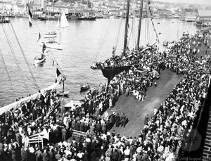 Lively Crowd Surrounding Ship at the Annual St. Peter's Blessing of the Fleet in Gloucester, Massachusetts