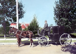 Glass Slide Man Riding Horse Carriage