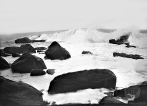 Surf Crashing against Rocks New England