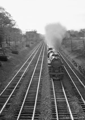 Railroad Steam Engine Running Down Long Parallel Tracks in Plainfield NJ 1930's