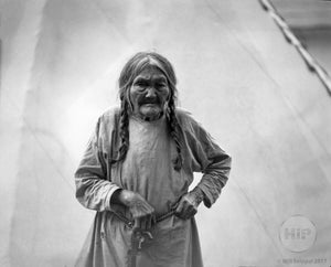 Native American Elder Woman with Teepee