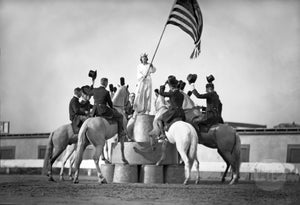 Statue of Liberty Flag Equestrian Riders Top Hat Unidentified Event