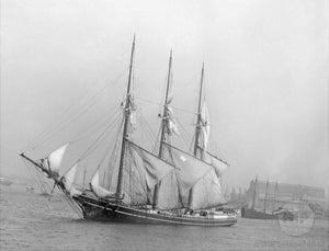 Schooner Positioned outside Gloucester Harbor
