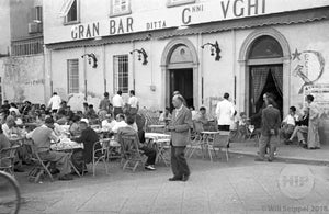 Customers Pleasantly Enjoying a Noon-Time Meal and Beverages at the Gran Bar, Italy 1940s