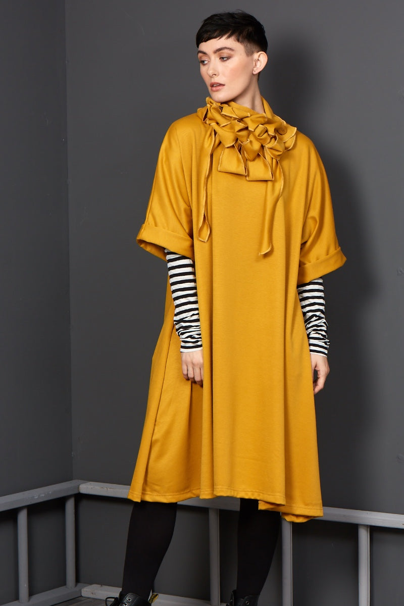 One size drape dress mustard