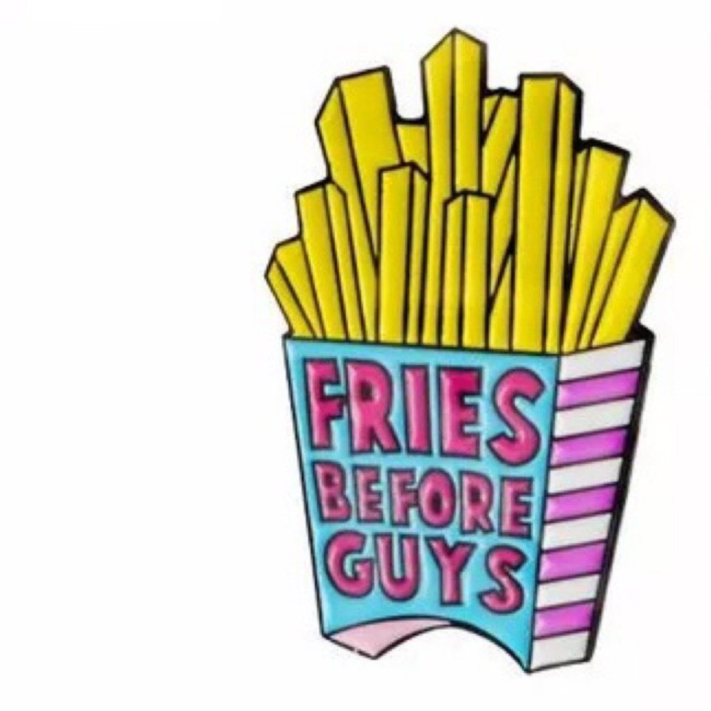 fries before guys blue pink and yellow pin badge adult stocking fillers Rew Clothing
