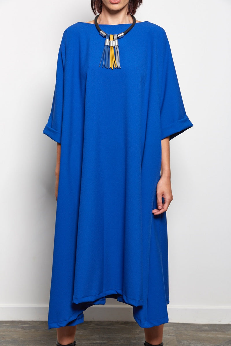 Zana - Royal Blue Loose Fit Crepe Dress