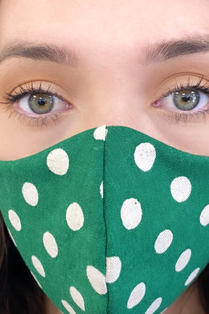 Face Mask - Polka Dot Green