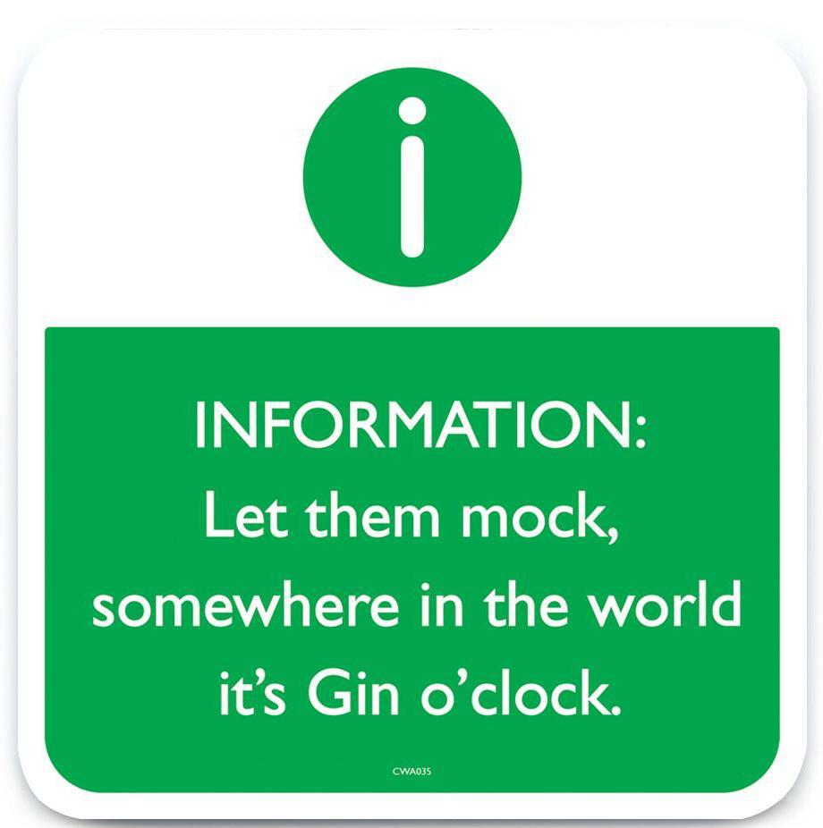green 'gin o'clock' coaster