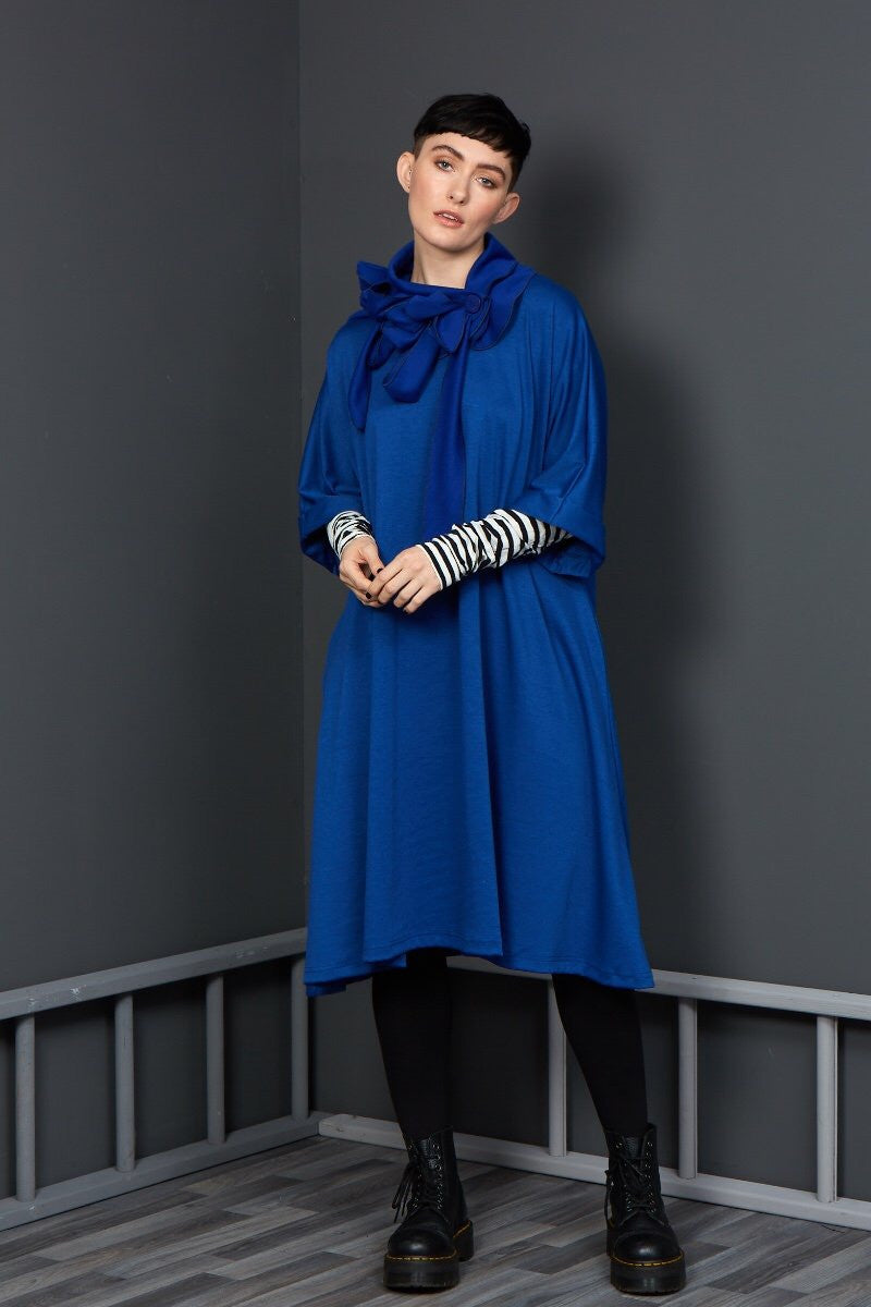 Unusual rew dress bright blue