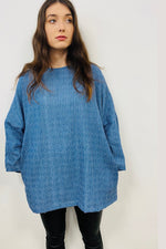 Chambray Distressed Denim  - Lounge Wear Top