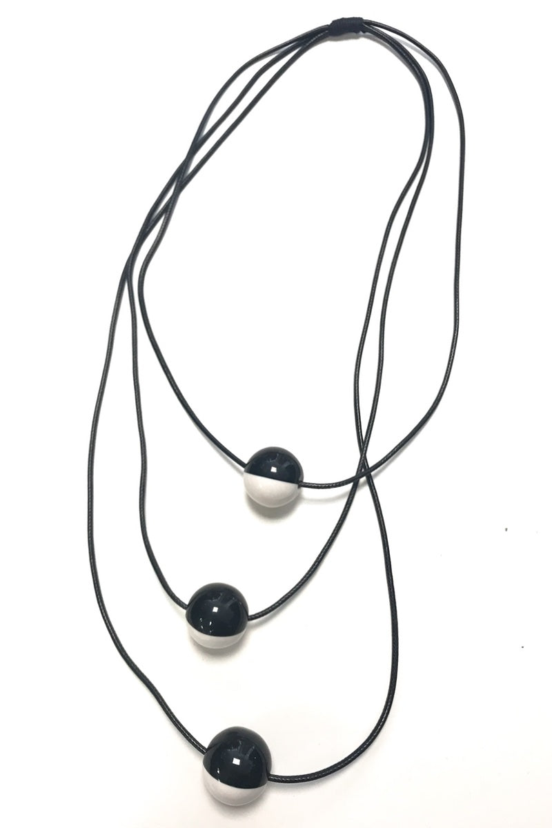 statement black and white necklace long bold