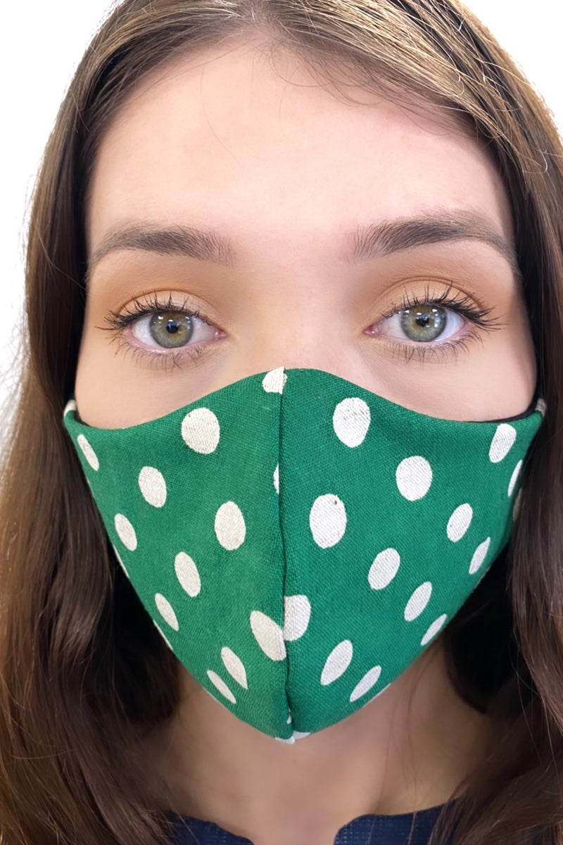 bright green polka dot face mask