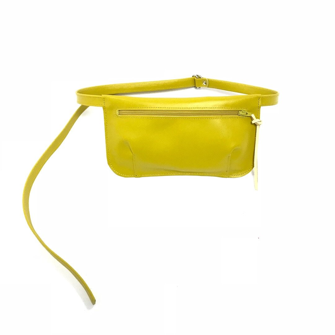 canary yellow leather belt purse hip pouch fashion 2018 style
