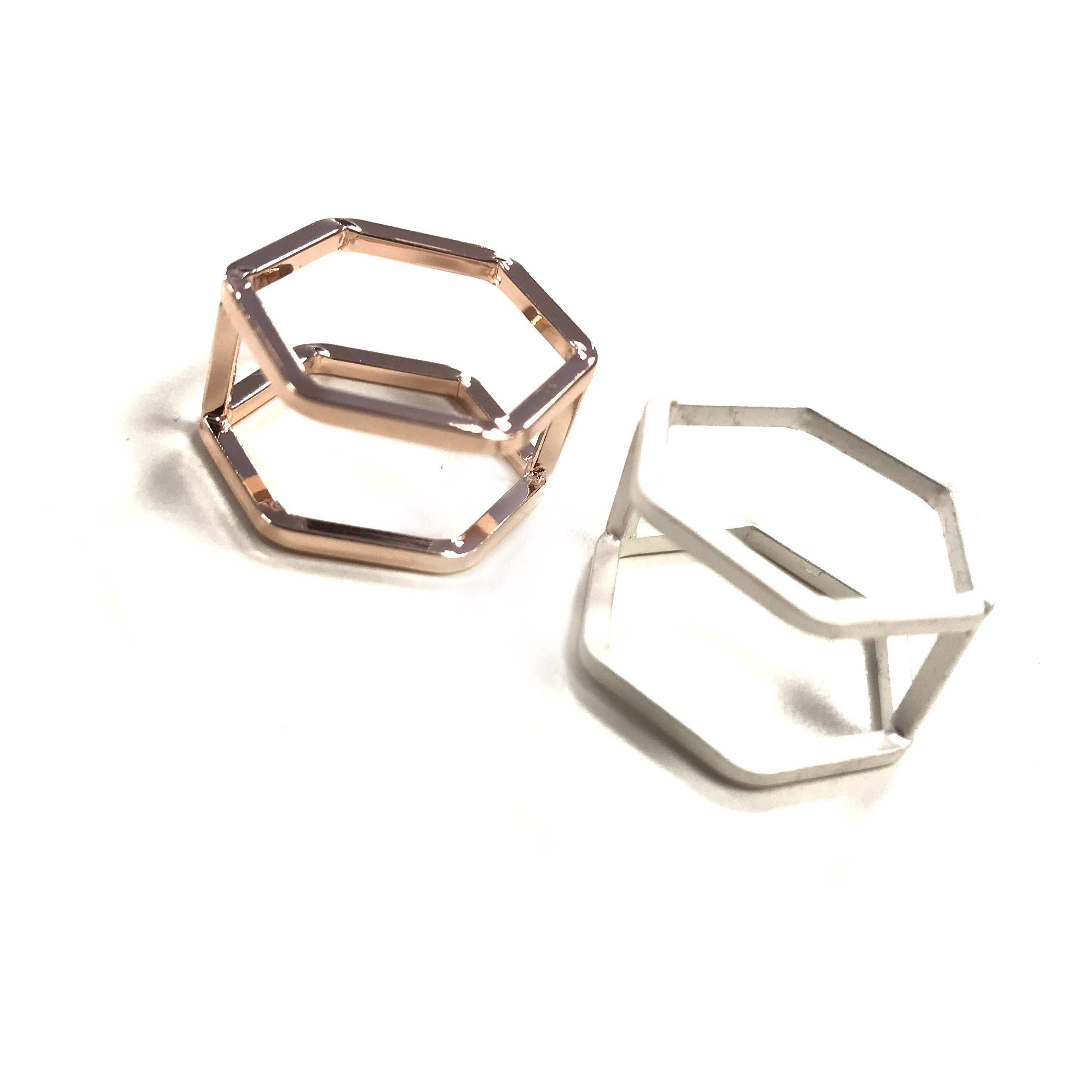 Hexagonal Shaped Stackable Ring Rose Gold Matte Silver
