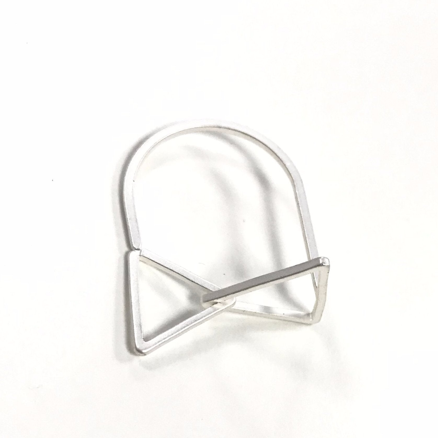 Matt Silver Dainty Triangle Stackable Ring Gifts Under £10