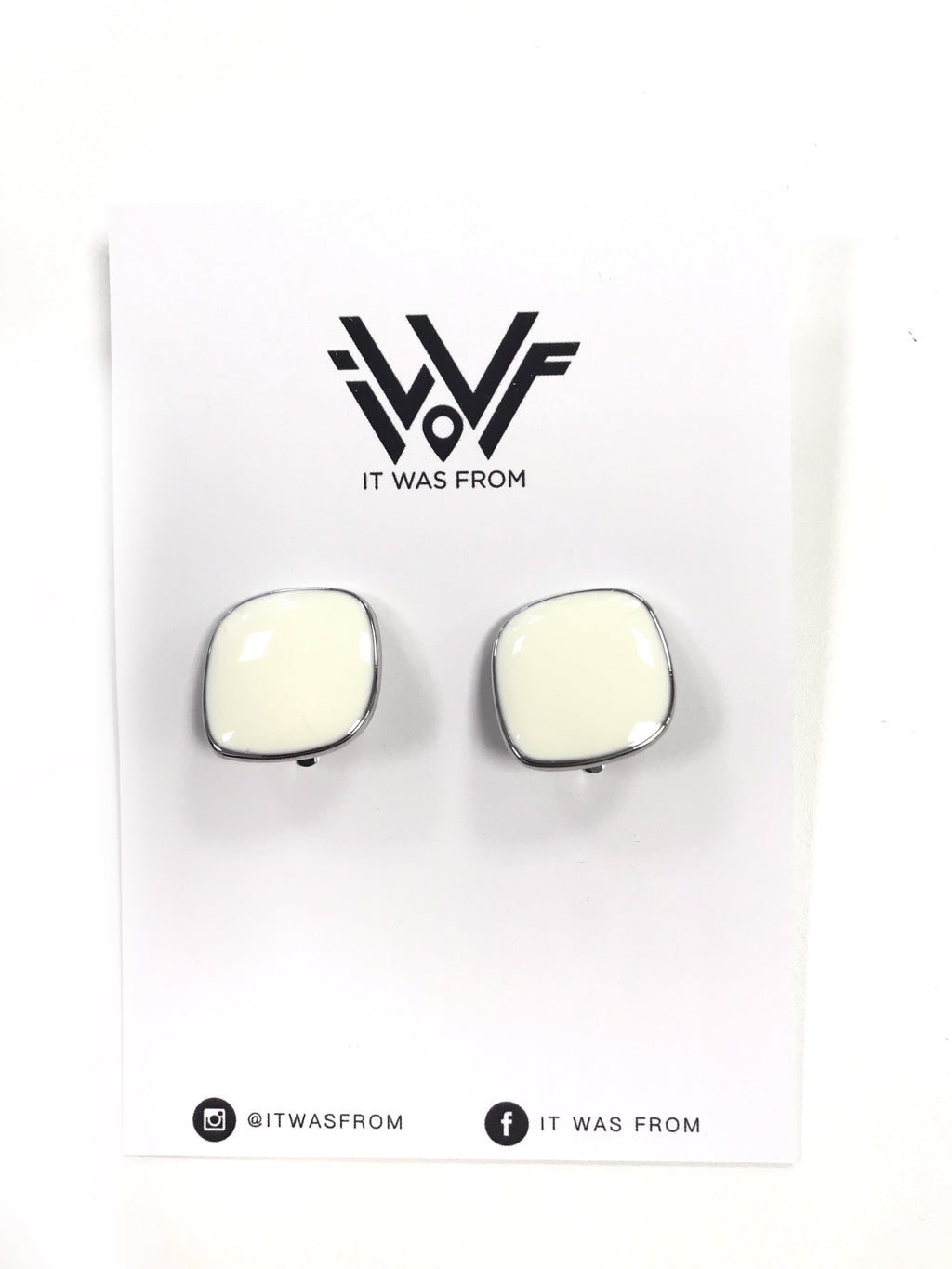 Stylish Cream And Silver Rounded Square Clip On Earrings