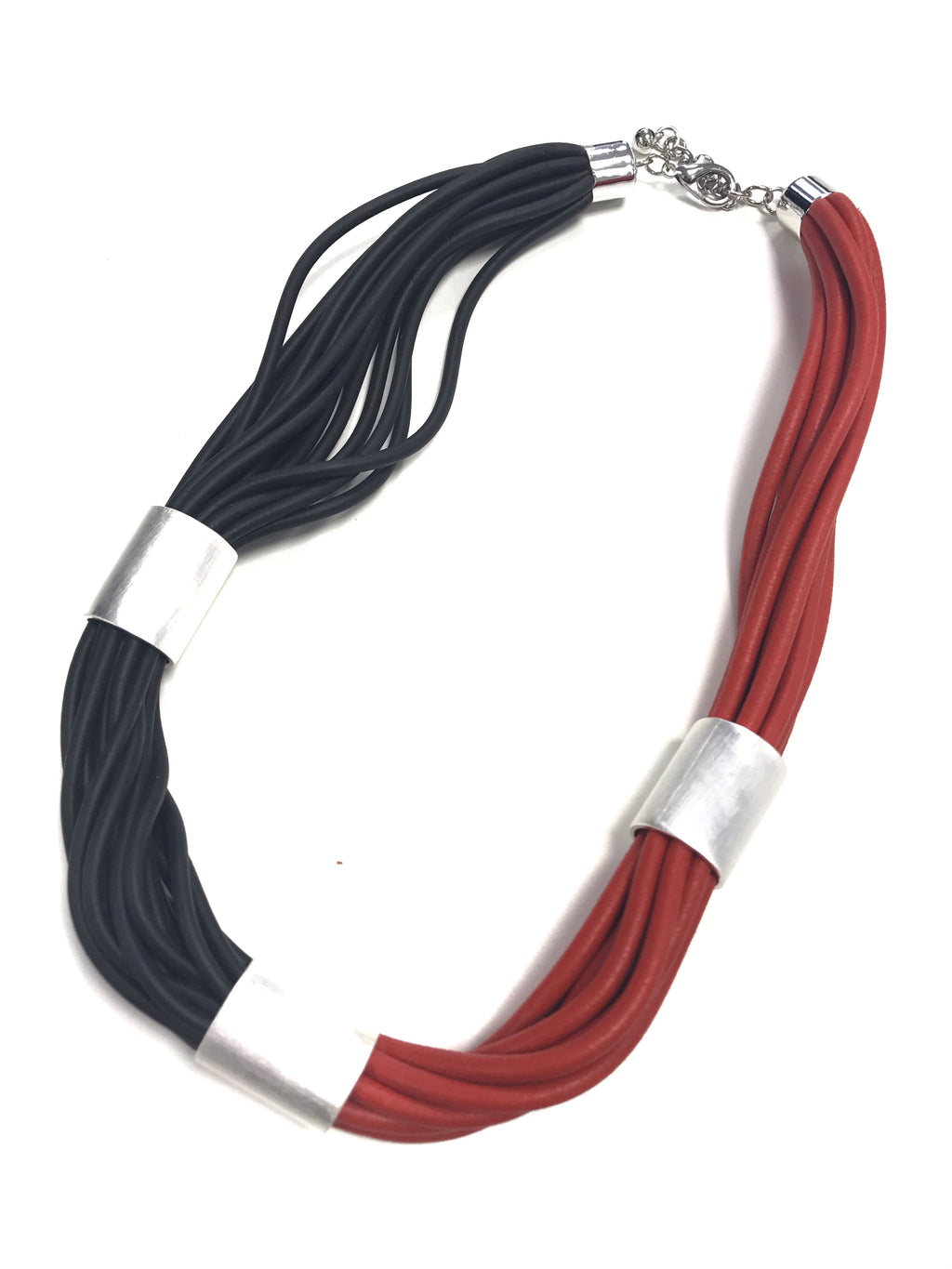 red and black unusual rubber chunky jewellery