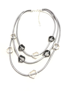short silver leather necklace with geo beads