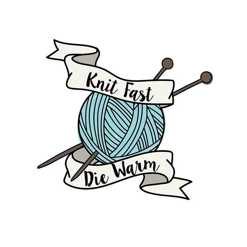knit fast die warm quirky pin badge gift idea rew clothing